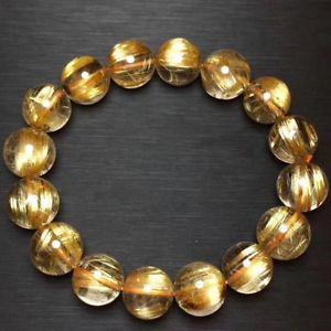 【送料無料】ブレスレット アクセサリ― ルチルビーズブレスレットnatural gold rutilated quartz crystal cat eye beads bracelet 13mm aaaa