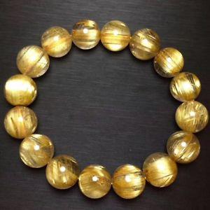 【送料無料】ブレスレット アクセサリ― ルチルビーズブレスレットnatural gold rutilated quartz crystal cat eye beads bracelet 132mm aaaa