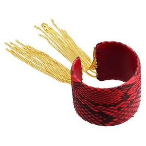 ブレスレット アクセサリ— サバティーニフリンジカフレザーkゴールドcristina sabatini fringe cuff, genuine red python leather in 18k gold over brass