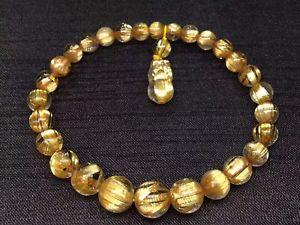 【送料無料】ブレスレット アクセサリ― ゴールドチタンルチルビーズブレスレットnatural gold titanium rutilated quartz pi xiu round beads bracelet 610mm aaaaaa