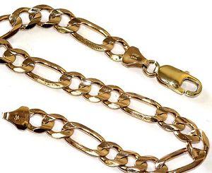 【送料無料】ブレスレット アクセサリ― イエローゴールドフィガロリンクブレスレットビンテージアンティーク10k yellow gold figaro link bracelet 74mm vintage 8 34 estate antique 153g
