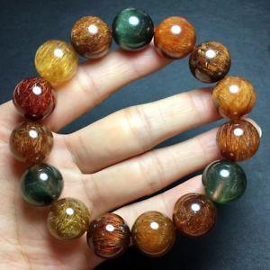 【送料無料】ブレスレット アクセサリ― チタンルチルラウンドビーズブレスレットnatural colorf titanium rutilated quartz crystal round beads bracelet156mm aaaa