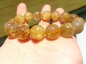 【送料無料】ブレスレット アクセサリ― ゴールデンルチルラウンドブレスレット14mm rare 6a natural titin golden rutilated quartz round bracelet gift bl9902