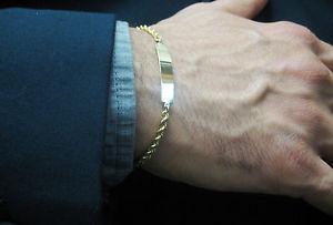 【送料無料】ブレスレット アクセサリ― vintage14kプレートid8vintage14k solid yellow gold engravable plate mens id bracelet 8