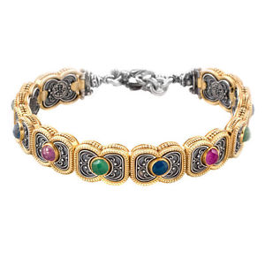 【送料無料】ブレスレット アクセサリ― スターリングシルバーリンクブレスレットb340 ~ sterling silver with gemstones medieval link bracelet