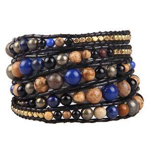 【送料無料】ブレスレット アクセサリ― 5ブレスレットジャスパーチェーンカフスfashion women men 5 wrap bracelet picture jasper agate charm handmade chain cuff