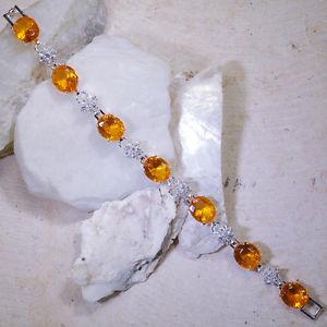 【送料無料】ブレスレット アクセサリ― ×イエローシトリンホワイトトパーズシルバーブレスレットイギリスwholes 5 strands x 30ct yellow citrine white topaz silver bracelet 7gbr207