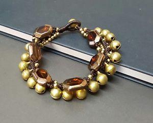 【送料無料】ブレスレット アクセサリ― ガラスブレスレットglass brass jingling bracelet