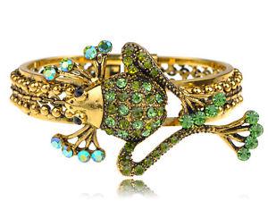 【送料無料】ブレスレット アクセサリ― ファンキーグリーンクリスタルラインストーンカエルブレスレットカフalimarket funky erinite green crystal rhinestone pond frog critter bracelet cuff