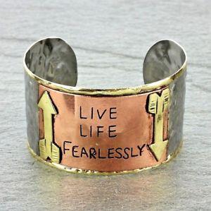 【送料無料】ブレスレット アクセサリ― カフブレスレットlive life fearless hammered silver copper mixed metal cuff bracelet arrows