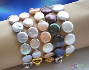 【送料無料】ブレスレット アクセサリ― コインブレスレットd0069 8 14mm coin freshwater pearl bracelet