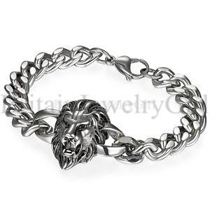 メンズステンレススチールシルバーライオンヘッドチェーンリンクバイカーブレスレット86 アクセサリ― bracelet*10mm mens chain head biker silver link stainless curb lion steel 【送料無料】ブレスレット