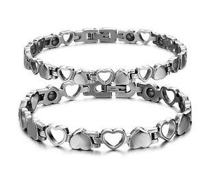 【送料無料】ブレスレット アクセサリ― ハートリンクステンレススチールブレスレットeternity love heart link magnetic stainless steel couples promise bracelet