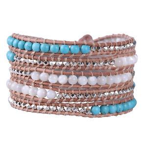 【送料無料】ブレスレット アクセサリ― シェルトルコ5ブレスレットチェーンshell pearl turquoise bead 5 wrap bracelet charm chain fashion women jewelry