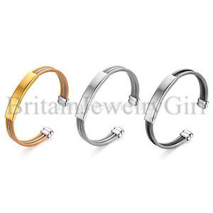 【送料無料】ブレスレット アクセサリ― freeメンステンレスidタグケーブルワイヤーカフスブレスレットfree engraving stainless steel id tag cable wire cuff bracelet for men women