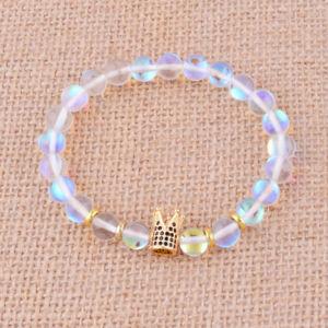 【送料無料】ブレスレット アクセサリ― 8mmジルコンジュエリーhigh quality 8mm moonstone beaded bracelet zircon king queen crown jewelry gift