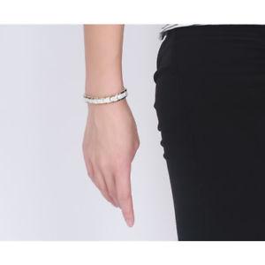 【値下げ】 【送料無料】ブレスレット アクセサリ― ステンレススチールゴールドホワイトセラミックバイカーブレスレット71 stainless steel gold white ceramic biker men women magnetic bracelet *9mm, ナンバ 1f725ef5