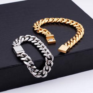 【送料無料】ブレスレット アクセサリ― ゴールドシルバーステンレススチールチェーンメンズファッションブレスレットgold silver stainless steel 12mm curb chain women mens fashion bracelet 9