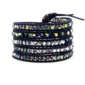 【送料無料】ブレスレット アクセサリ― レザーブレスレットファッションカットラップfashion cut ab crystal 5 wrap on leather bracelet handmade natural jewelry
