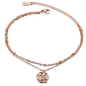 【送料無料】ブレスレット アクセサリ― ステンレスローズツバキアンクレットチェーンstainless steel rose gold tone doublelayer camellia anklet ankle chain bracelet