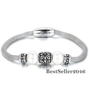 【送料無料】ブレスレット アクセサリ― レトロパールビーズステンレススチールメッシュブレスレットwomens retro manmade pearl bead stainless steel mesh wrapped magnetic bracelet