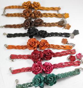 【送料無料】ブレスレット アクセサリ― カップルジュエリーhandmade couple rose bracelets genuine leather jewelry fashion women charm gift