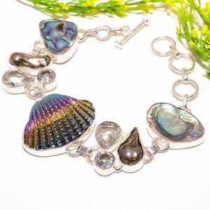 【送料無料】ブレスレット アクセサリ― チタンシェルアワビファッションジュエリーブレスレットtitanium oyester shell, abalone fashion jewelry bracelet 78 sb1003