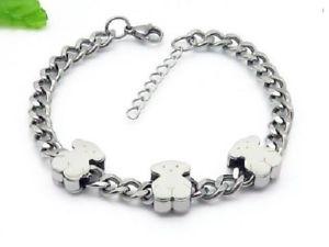 【送料無料】ブレスレット アクセサリ― ステンレススチールアクリルチェーンベアブレスレット2018 womens dress stainless steel acrylic chain bear bracelets