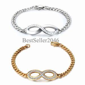 【送料無料】ブレスレット アクセサリ― ステンレススチールチェーンブレスレットbling charm love infinity symbol stainless steel chain women lady bracelet 75