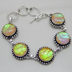 【送料無料】ブレスレット アクセサリ― オーストラリアトリプレットオパールハンドメイドジュエリーブレスレットaustralian triplet opal silver plated handmade jewelry bracelet 24 gm a19