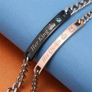 【送料無料】ブレスレット アクセサリ― カップルブレスレットステンレススチールクリスタルクラウンチャームブレスレットher king his queen couple bracelets stainless steel crystal crown charm bracelet