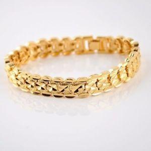 Bracelet Bangle Real 18k Yellow G//F Gold Solid Ladies Belcher Link Design 19cm
