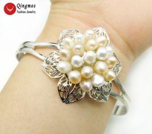 【送料無料】ブレスレット アクセサリ― ホワイトピンクコメシルバープレートカフブレスレットwhite amp; pink rice natural pearl flower silver plate open cuff bracelet jewelry