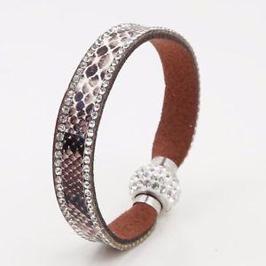 【送料無料】ブレスレット アクセサリ― レザーラインストーンボールファッションブレスレットsynthetic python leather dazzle rhinestone ball decorative fashion bracelet