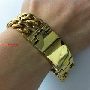 【送料無料】ブレスレット アクセサリ― ファッションステンレススチールkゴールドトーンメンズカウボーイチェーンブレスレット22mm fashion stainless steel heavy 18k gold tone mens cowboy id chain bracelet