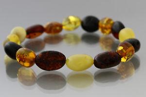 【送料無料】ブレスレット アクセサリ― バルトマルチカラービーズブレスレットストレッチgenuine baltic amber multicolor bean shape beads stretch bracelet 79g 18082912