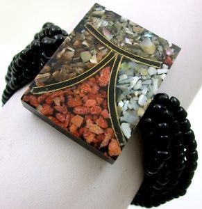 【送料無料】ブレスレット アクセサリ― モザイクレッドコーラルシーシェルズビードストレッチカフブレスレットmosaic red coral seashells bead stretch cuff bracelet 69 adjustable ba352
