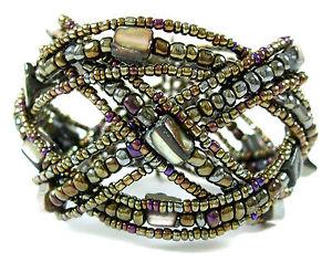 【送料無料】ブレスレット アクセサリ― パウアアワビシードビーズワイヤーカフブレスレットジュエリーpaua abalone seed beads memory wire cuff bracelet 68adjustable jewelry aa235