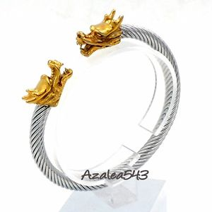 【送料無料】ブレスレット アクセサリ― ゴールドドラゴンヘッドステンレススチールケーブルカフバイカーブレスレットmen gold dragon heads 316l stainless steel cable cuff biker bracelet