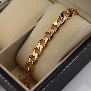 【送料無料】ブレスレット アクセサリ― イエローゴールドブレスレットリンク18k yellow gold filled charms bracelet mens 77chain 10mm curb link gf jewelry