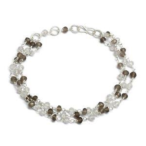【送料無料】ブレスレット アクセサリ― ハンドメイドビーズブレスレット listingsmoky amp; crystal gemstone handmade beaded silver plated bracelets jewelry design