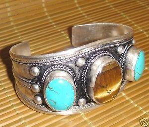 【送料無料】ブレスレット アクセサリ― チベットタイガーアイターコイズビーズカフブレスレットcharming tibet tiger eye amp; turquoise beads cuff bracelet