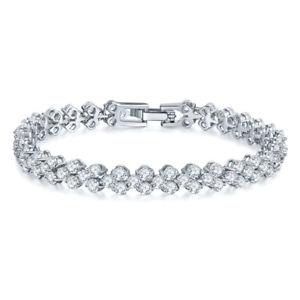 【送料無料】ブレスレット アクセサリ― クラシックローズゴールドホワイトゴールドメッキジルコンチェーンブレスレットclassic rose goldwhite gold plated aaa zircon chain bracelet women jewelry gift