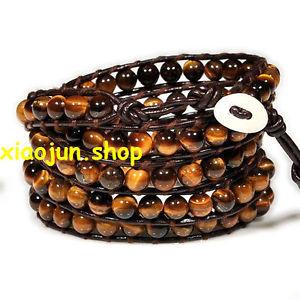 【送料無料】ブレスレット アクセサリ― ブレスレットラップキャッツアイビーズfashion 5 wraps tigers eye bead on brown genuine leather bracelet 86cm long