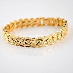【送料無料】ブレスレット アクセサリ― ブレスレットチェーンkイエローゴールドリンクファッションジュエリーホットmenwomen bracelet chain 18k yellow gold filled 8watch link fashion jewelry hot