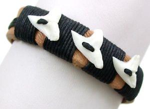 【送料無料】ブレスレット アクセサリ― ハンドメイドサーファービーチブレスレットhandmade genuine mako shark teeth leather surfer beach bracelet 69 adj ;aa212