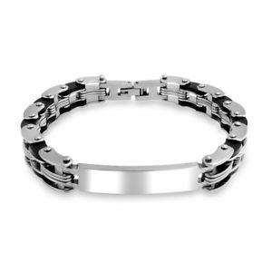 【送料無料】ブレスレット アクセサリ― メンズステンレススチールチェーンブレスレットmens stainless steel bicycle chain id bracelet 85in