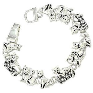 【送料無料】ブレスレット アクセサリ― ファッショナブルチェーンブレスレットクラスプplayful cats fashionable chain bracelet magnetic clasp silver plated