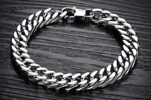 【送料無料】ブレスレット アクセサリ― ソリッドステンレススチールダブルリンクチェーンブレスレットheavy solid stainless steel double curb link chain bracelet 12mm 10mm 8mm 6mm