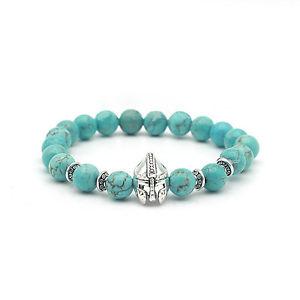 【送料無料】ブレスレット アクセサリ― ヘッドブレスレットティールsilver knight head charm bracelet teal lava stone by mayabracelets w bag